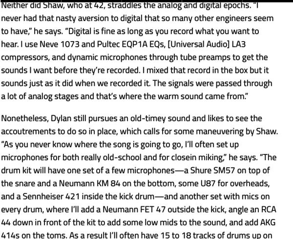 Bob Dylan using Neumann KM 84