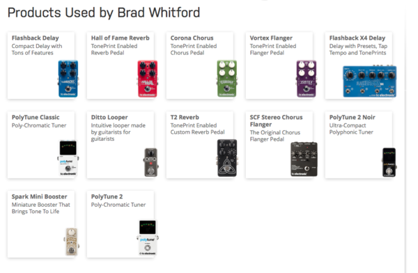 Brad Whitford using TC Electronic Flashback Delay