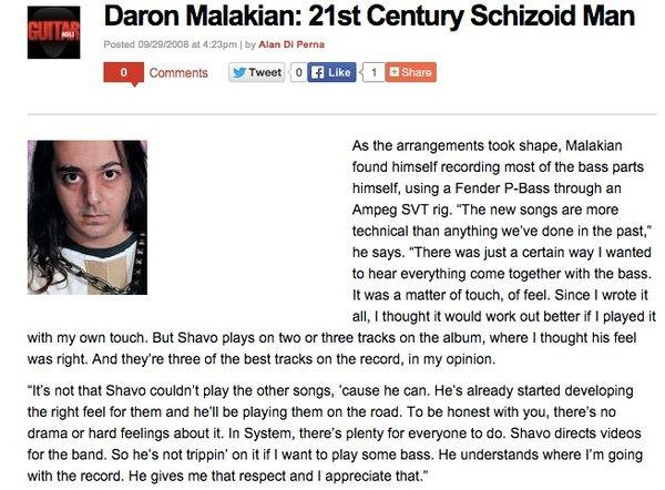 Daron Malakian using Fender Precision Bass