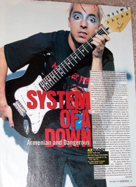 Daron Malakian using Fender Standard Stratocaster Electric Guitar