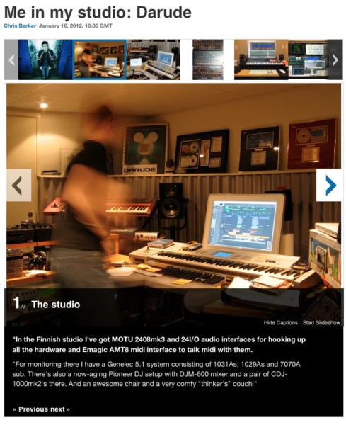 Darude using Genelec 1031A Two-Way Active Speaker Studio Monitors