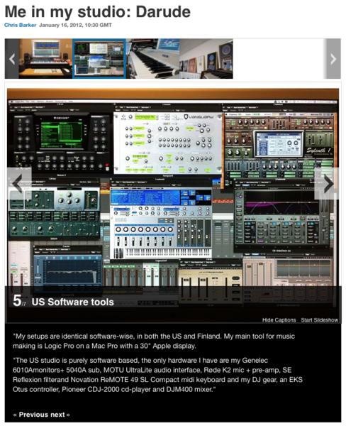 Darude using Genelec 6040A Two-Way Active Speaker Studio Monitors