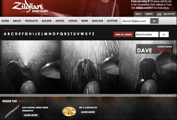 "Dave Grohl using ""Zildjian 20"" A Custom EFX"""