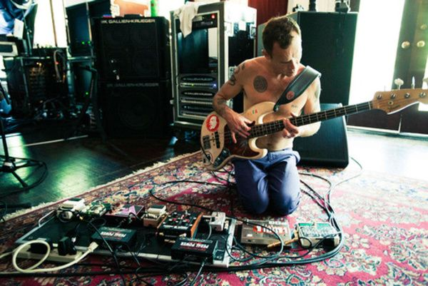 Flea using Electro-Harmonix Bass MicroSynth Effects Pedal