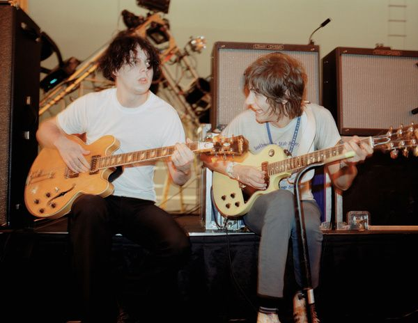 Jack White using Epiphone Riviera Nick Valensi Signature Electric Guitar