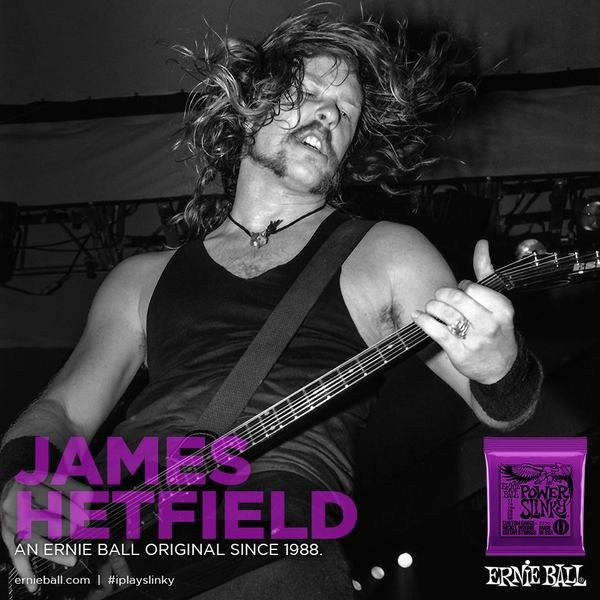 James Hetfield using Ernie Ball Power Slinky Strings