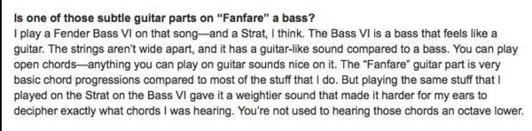 John Frusciante using Fender Bass VI