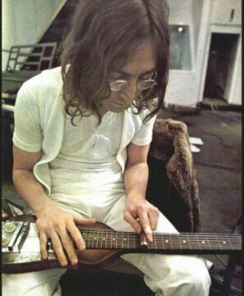John Lennon using Hofner 5140 Hawaiian Standard Lap Steel Guitar