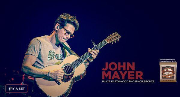 John Mayer using Ernie Ball 2148 Earthwood Light Acoustic Guitar Strings