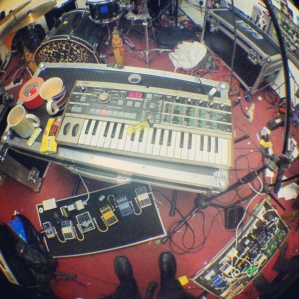 Matthew Healy using Korg MicroKORG Synthesizer/Vocoder