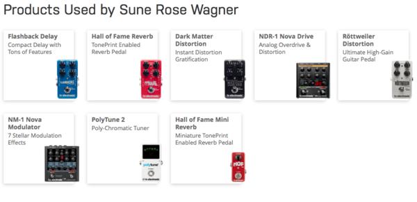 Sune Rose Wagner using TC Electronic Dark Matter Distortion