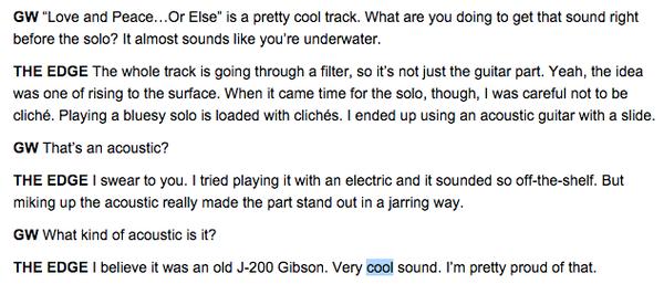 The Edge using Gibson J-200