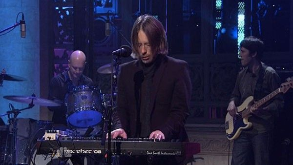 Thom Yorke using Dave Smith Instruments Prophet '08 Synthesizer