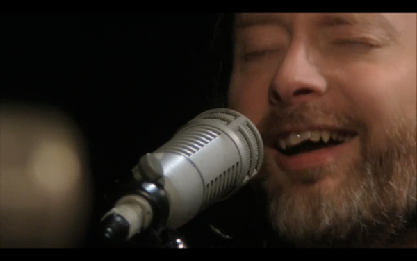 Thom Yorke using Electro-Voice RE20 Dynamic Cardioid Microphone