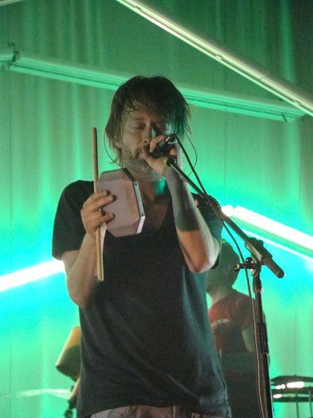 Thom Yorke using Latin Percussion LP1210 Granite Blocks
