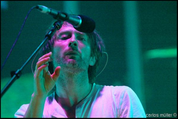 Thom Yorke using Shure Beta 87A Condenser Vocal Microphone