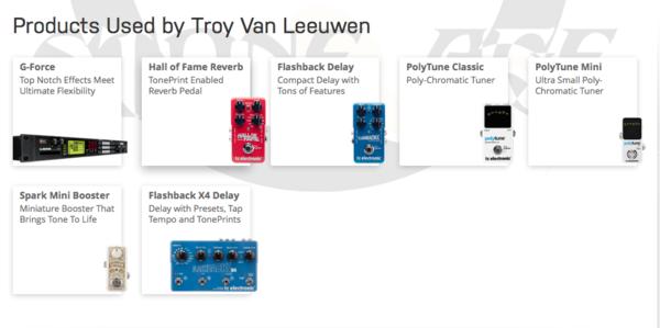 Troy Van Leeuwen using TC Electronic PolyTune Polyphonic Tuner Pedal