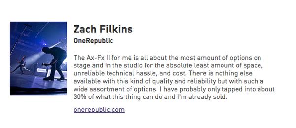 Zach Filkins using Fractal Axe-Fx II Guitar Effects Processor